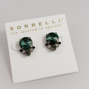 Sorrelli Silver, Green Crystal, Stud Earrings .5""